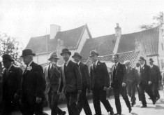 Friendly Society members march in Church St