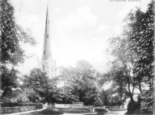 Postcard of St Mary's spire and Rectory Lane ford