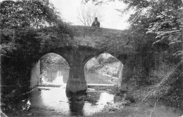 Postcard of man on Fleming's Bridge