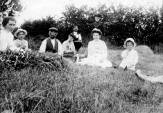 A family picnic in a meadow