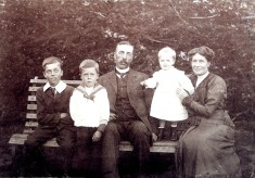George Ernest Marsh and family on a bench