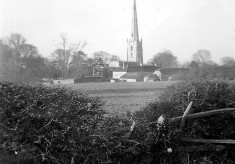 The church spire and Church Farm from Station Road
