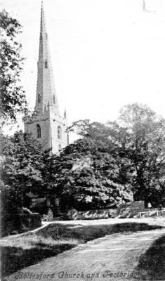 A postcard of Bottesford church spire