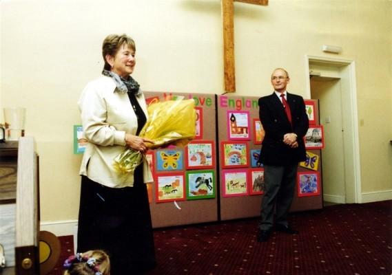 A presentation to Mrs Joy Simpson at the Methodist chapel