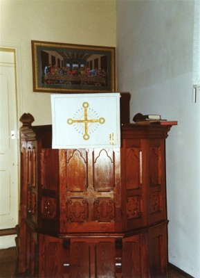 The old altar at the Methodist chapel