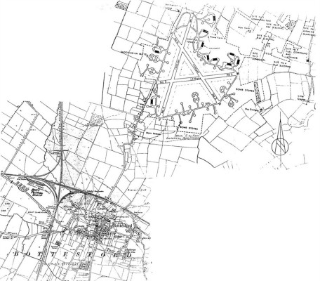 Bottesford Airfield map in article about Lancaster S-Sugar