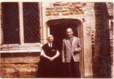 Tommy Robinson (L) verger and friend by south door to chancel