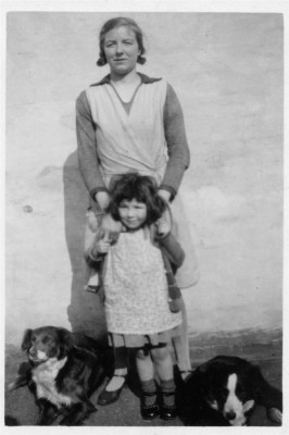 Mother and daughter, with two dogs