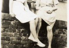 Jean and Beryl at the Bull during WW2