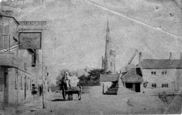 Old postcard of Bottesford Market Place, horse and trap