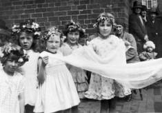 May Day queen's attendants, in village school yard
