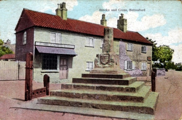 Old postcard, Cross and Stocks, Taylor's Butchers and Sutton's shop
