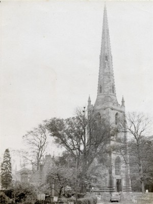 Old postcard of Bottesford church spire seen from NW