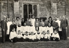 Group photograph of Bottesford church choir, ca. 1950