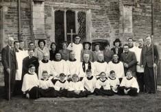 Group photograph of Bottesford church choir, ca. 1950