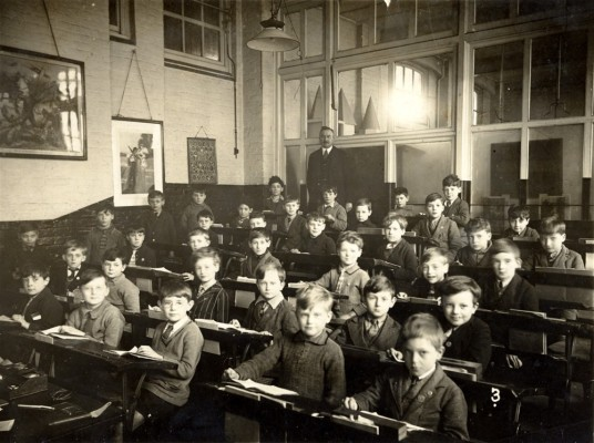 School picture, boys in classroom with teacher, possibly Bottesford village school