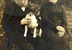 Old couple with dog, photographed before 1900