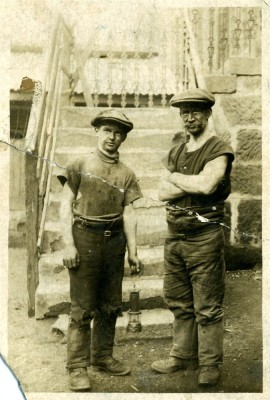 Two workmen on site