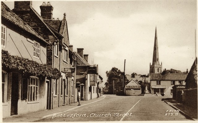 Old postcard, Frith, Bottesford Market Place seen from south