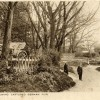 Old postcard, German WW1 gun in trees by Normanton Lane at Bottesford ford