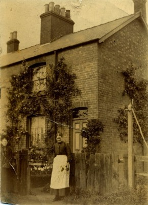 Two women in front of cottage, possibly on Albert Street, Bottesford