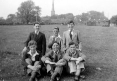 Group of young men in Daybell's paddock c.1955