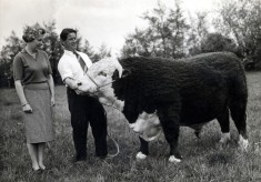 Mrs Betty Lee with her stockman Mr Owen Cooke