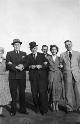 Village group, Sgt Bradshaw (centre) and Edgar Culpin (far right)