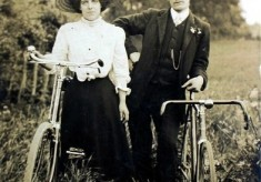 Edwardian couple with bicycle