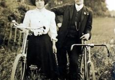 Edwardian couple with bicycle