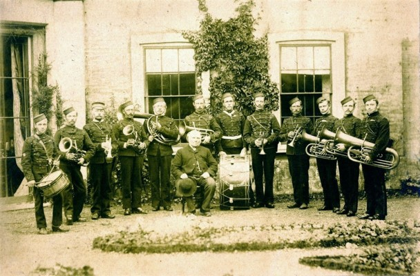 Belvoir Rifle Volunteers Band with Canon Frederick Norman at Bottesford Rectory