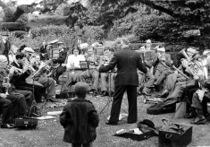 The Bottesford and Bingham Band on the old rectory lawn at Bingham Rectory, about 1950