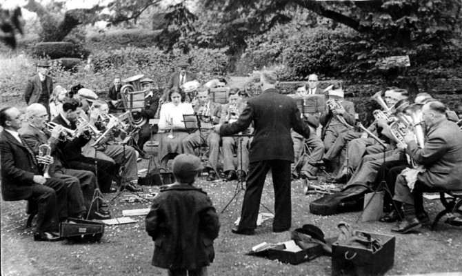 The Bottesford and Bingham Band on the old rectory lawn at Bingham Rectory, about 1950 | From the collection of Philip Sutton