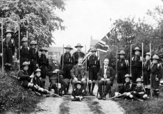 Bottesford Scouts with Canon Vincent-Jackson (seated, centre), possibly in Albert Street, Bottesford