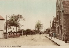 Grantham Road, Bottesford, with Red Lion on left and village school on right, old postcard