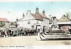 Children in Market Street and Market Cross, Bottesford, old postcard