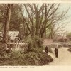Captured German gun by ford on Rectory Road, Bottesford, old postcard