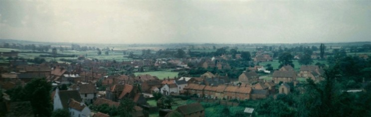 Panorama from Bottesford church tower looking SW over the village centre, enhanced by Richard Bradshaw
