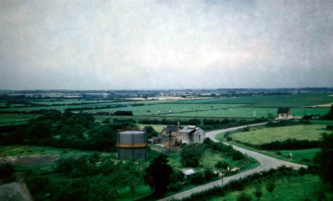 Gasworks and railway crossing  from Bottesford church tower