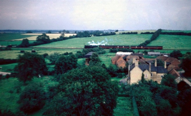 Beckingthorpe Farm and train travelling towards Nottingham from Bottesford church tower