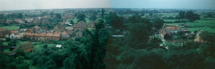 Panorama from Bottesford church tower looking west with The Green (R) and The Square (L ) Enhanced by Richard Bradshaw