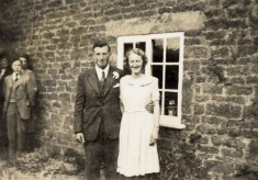 Les and Ruby Calcraft on their wedding day, at Sykes Lane Farm