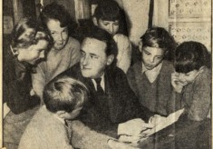 Muston children with E.W.Hildick, children's author and husband of village school mistress, ca1955