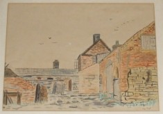 Calcraft's Sykes Lane Farm buildings, a water colour
