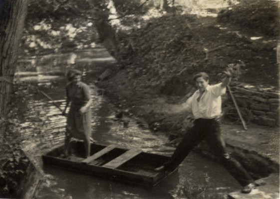 Punting on the River Devon, about to fall in