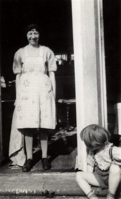 Tettie Catton and child at the Rectory porch