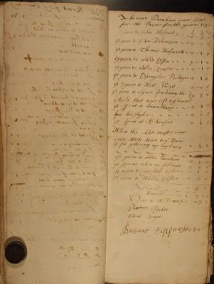 Muston Overseers of the Poor Account 1692