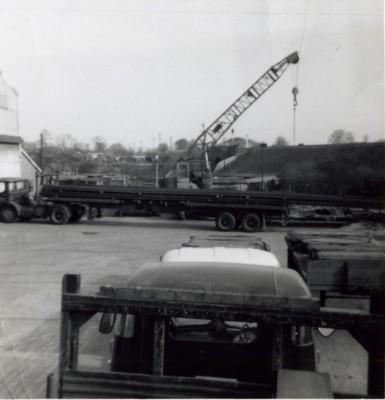 Lorries in works yard
