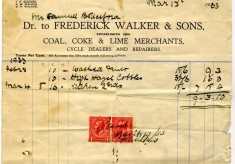 1933 receipt for the first load of coal