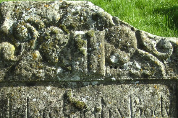 17th Century tombstone, St Mary's Churchyard. Carved limestone.